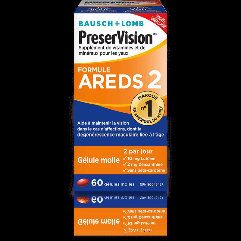 Supplément de vitamines et de minéraux pour les yeux PreserVisionMD formule AREDS 2